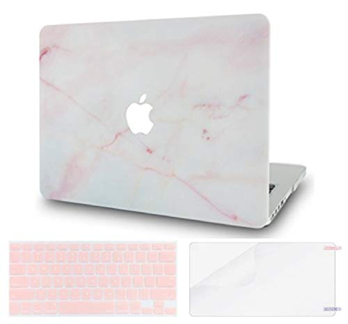 Luvcase MacBook Case mit Tastaturhülle Mehrfarbig Pink Marble with Keyboard Cover and Screen Protector A1278 Old Pro 13