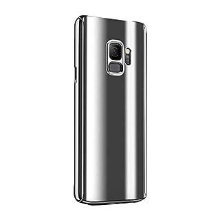 Fantasyqi Kompatible mit Galaxy J7 2017 / J730 2017 / J730F / J7 Pro Hülle Mirror Ultra Dünner Überzug PC Harte Handyhülle 360 Grad Ganzkörper Schützend Anti-Kratze Mode Glänzend Spiegeln(Silber)