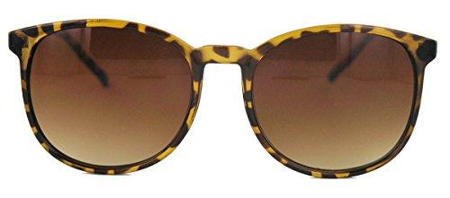 Classic Sonnenbrille große runde Pantobrille Hornbrille braun leo Damen Herren