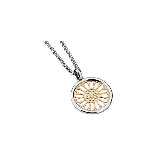 Collana da Donna con Ciondolo Exclusiv di design in acciaio inox, placcato oro 14K, con 50cm catena in acciaio inox
