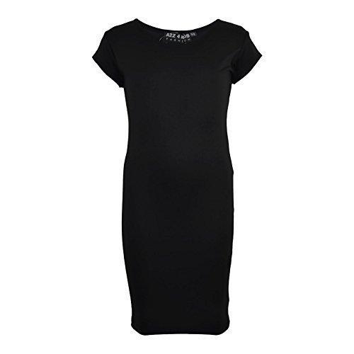 A2Z 4 Kids® Mädchen Midi Kleid Kinder Einfach Farbe Bodycon - New Midi Dress Black 9-10 (Einfache Kid Kostüm)