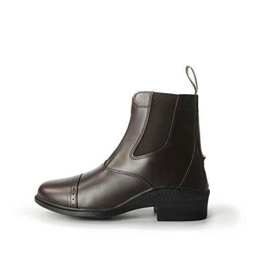 Brogini Damen Herren Reiten Leder Front-reißverschluss Stall Hof Paddock Jodhpur Stiefel Alle Größen - Braun, UK 5 / EU 38 (Stiefel Paddock Reiten,)