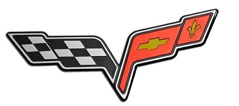 LARGE CROSSED FLAG WING Fender Real Aluminum Auto Emblem Badge Nameplate for Chevrolet Corvette C6 05 06 07 08 09 10 11 12 13 2005 2006 2007 2008 2009 2010 2011 2012 2013 (any year model - Universal Fitment)