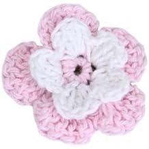 20 Flor Croché Apliques Artesanal Costura Decor Bolsa Ropa Rosa Hecho A Mano