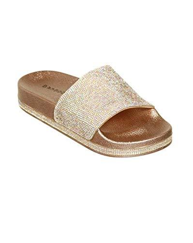Damen Mädchen Sandalen Sommer Hausschuhe Flip Flops Mode Flache mit Strass Glitzer für Frauen Sommer Flip Flops Casual Strand Sandale Flache Schuhe (EU 39, Mehrfarbig)