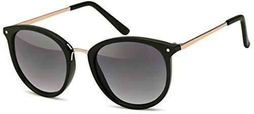 Vintage Sonnenbrille im 60er Style mit trendigen bronzefarbenden Metallbügeln Panto - Retro Brille (schwarz-Gradient)