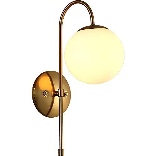 ROLLBBB Wandleuchte 1 Licht Vintage Wandleuchte mit White Globe Glas in Satin Messing, Badezimmer Vanity Lighting Geeignet für Wohnzimmer und Flur (Für Vanity Licht Globes)