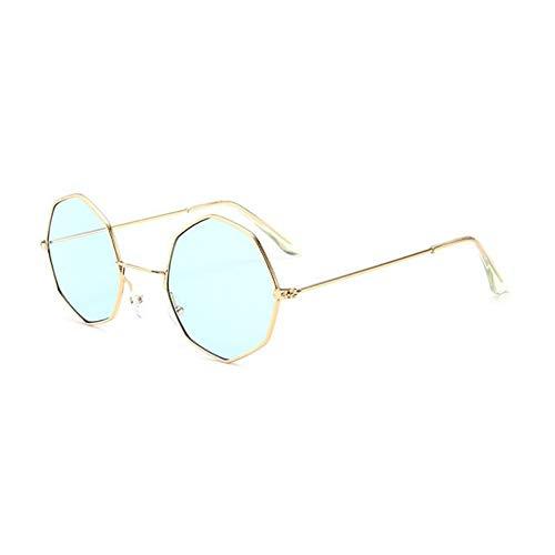 MOJINGYAN Sonnenbrillen,2019 Sonnenbrille Frauen Metall Mit Kleinem Rahmen Polygon Klare Linse Sonnenbrille Männer Vintage Sonnenbrillen Sechskant Blau