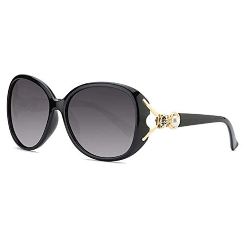 MEIEI Sonnenbrille, Polarisierte Sonnenbrille, Damen, Großer Rahmen, Objektiv, Fox, Perle, UV400, Schutz, Fahren, Mehrfarbiger Rahmen, Optional (Color : Black Frame)