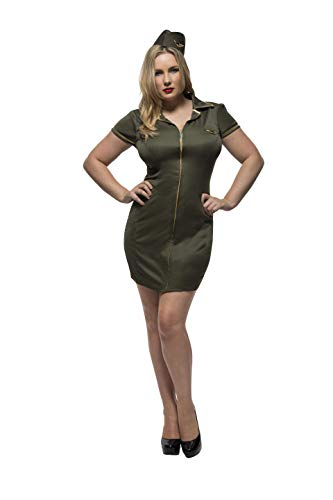 Smiffys 41002X1 - Fever Damen Armee Kostüm, Größe: 48-50, khaki