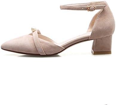 WENJUN Wild Señaló Grueso Con Medio Con Zapatos De Tacón De Cuero Perla Zapatos De Trabajo Profesional Zapatos...