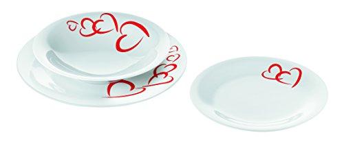 Guzzini Fratelli Love, Set d'assiettes pour 2 personnes, Porcelain