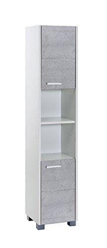 Schildmeyer Laif Hochschrank, Holz, Weiß, Steingrau, 30 x 30.2 x 150.5 cm
