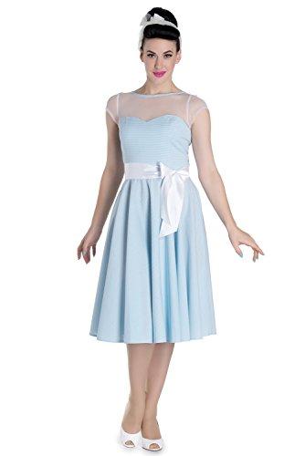 Hell Bunny Damen Vintage Kleid mit Spitze - Maisy Gingham Midi Dress Himmelblau Blau