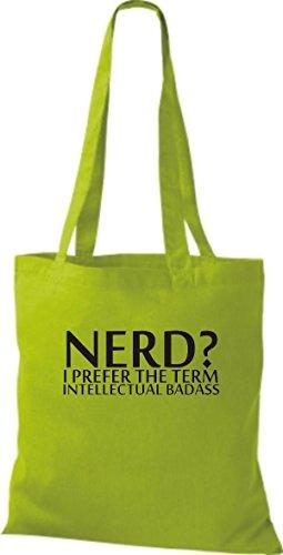 Borsa A Tracolla Tinta Unita In Juta Shopper Borsa A Tracolla Nerd? Preferisco Il Termine Intellettuale Di Vario Colore Verde Lime