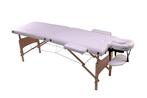 Bc-elec HM2523 Zusammenklappbarer Massagetisch aus Holz 210 x 80 x 80cm weiß, + Tasche, Max. 250kg
