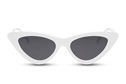 Cheapass Sonnenbrille Cat-Eye Weiß-e Grau-e Gläser Designer-Brille Fashion-Accessoire UV-400 Lichtschutz Damen Frauen