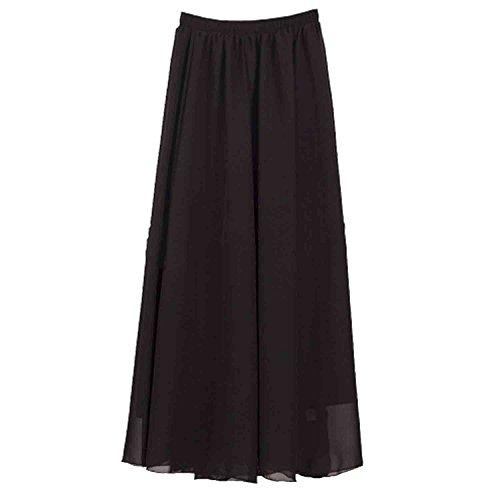 SUNNOW Korean Women Chiffon Boho Plissee Retro Maxi langer Rock-elastischen Bund Tanz-Kleid (Schwarz) GR: one size