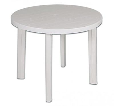 Gartentisch, Terrassentisch, Tisch, Vollkunststoff, rund, weiß, 90 cm, 287682