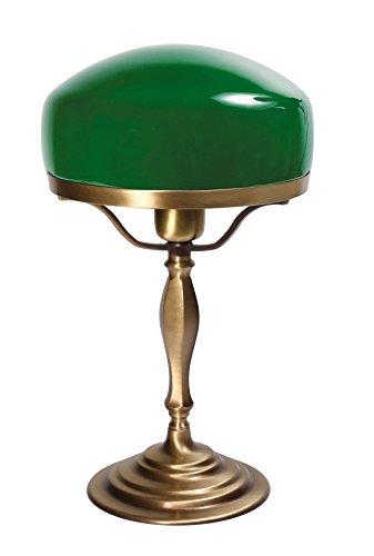 Tischlampe Messing Grün Glasschirm Handarbeit Pilzform E27 bis 60W Jugendstil Bankerlampe...