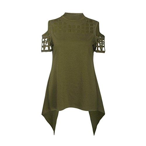 LHWY Donne Manica Corta T Casual Camicia Top Camicetta Irregolare (S, (T-shirt Manica Lunga Camicia Verde)