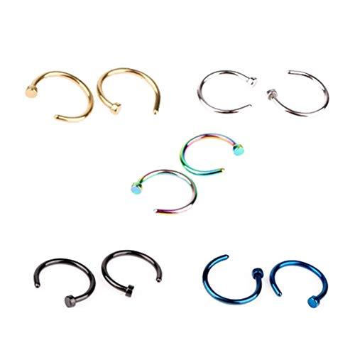 Isuper anello in acciaio chirurgico aperto da 5 pezzi anello aperto da naso in acciaio chirurgico anello aperto da naso in acciaio inox anello da naso (oro, argento, nero, blu, colorato)