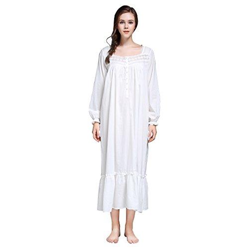 Dorekim Frauen 100% Baumwolle bequeme Nachthemd weiße lange Ärmel quadratischen Hals Nachtwäsche DK7212 (L) (Baumwolle Nachthemd Rüschen)