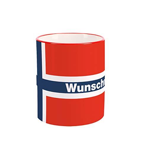 Herz & Heim® Tasse mit Wunschnamen und Flagge - Norwegen -
