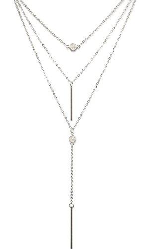 Suyi Exquisite Pailletten Mehrschichtige Ketten Türkis Perlen Halskette mit Federanhänger Hanging Rod Silber