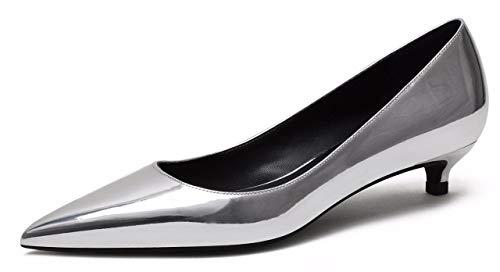 CAMSSOO Pumps Damen Schlupfschuhe Spitzen Zehenbereich Low Heels Party Schuhe,37 EU,Silver Soft Pu