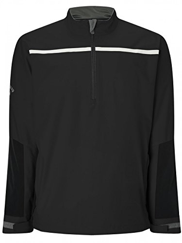 Callaway Golf 1/4 Zip Chest Stripe Wind Jacke, Herren L Schwarz -
