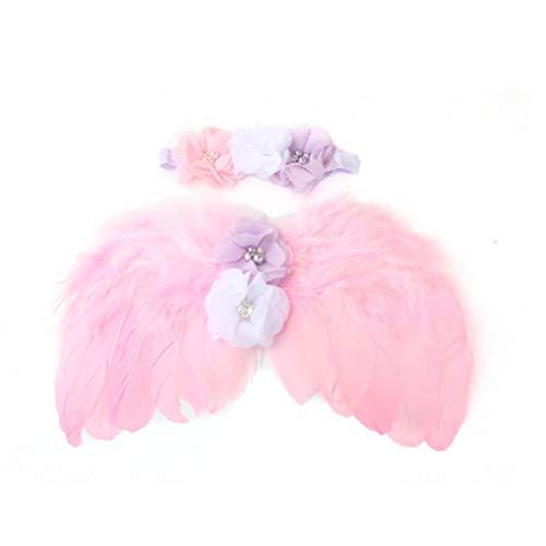 (YeahiBaby Baby Flügel Kostüm mit Stirnbänder Neugeborenen Engelsflügel Fotografie Requisiten (Rosa))