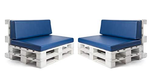 Conjunto colchonetas para sofas de palet y respaldos (2 x Unidades) Cojin relleno con espuma. Color Azul | Cojines para chill out, interior y exterior, jardin | No incluye palet