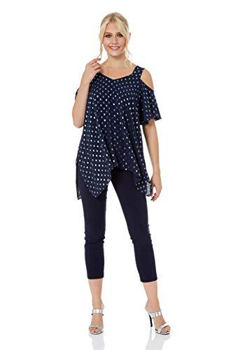 Roman Originals Damen Foliendruck Tupfen-Top mit Schulter-Cut-Outs - Damen, kurzärmlig, asymmetrischer Saum, zum Ausgehen, für tagsüber, Party, elegant - Navy Blue - Größe 42