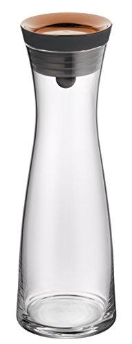 WMF Basic Wasserkaraffe, 1,0l, Höhe 29cm, Glaskaraffe Karaffe CloseUp-Verschluss, kupfer, Glas Cromargan Edelstahl rostfrei (18 10 Edelstahl Tee-sieb)