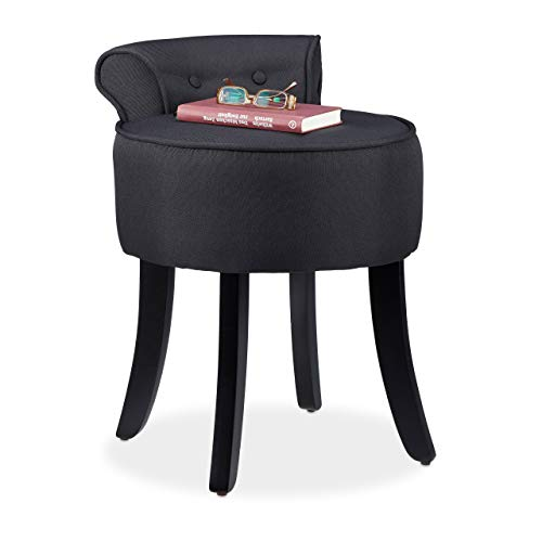 Relaxdays Stuhl mit niedriger Lehne, gepolstert, Sitzhocker Stoffbezug, rund, Holzbeine, HxBxT 61,5x44,5x47cm, schwarz