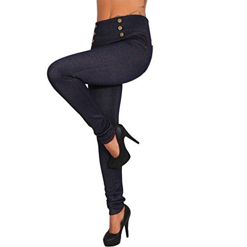 Thermo Jeans Look Stretch Hose breiter Bund Jeggings Treggings Leggings Röhre Leggins (XS/S, 521 Blau)