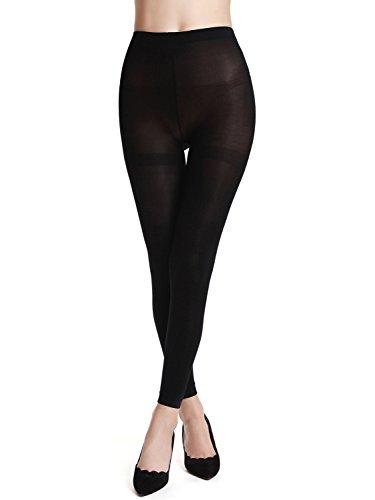 AMORETU Damen Blickdichte Strumpfhose Leggings Einheitsgröße 1325 Schwarz