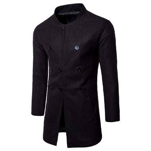 Gobling formeller Mantel für Herren, modisch, Herbst und Winter, langärmelig, mit Knöpfen Large schwarz -