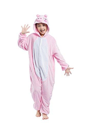 Casa - Tier Einhorn Pyjamas Unisex Kinder Pegasus Onesies mit Kapuze Jumpsuit Nachtwäsche Halloween Kostüm Kigurumi Karneval Fasching Cosplay Kleidung, Rosa Schwein, Kinder-100