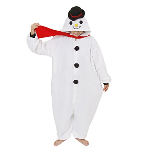 Casa Adult Onesies Cosplay Pyjama Tieroutfit Schlafanzug Tier Sleepsuit mit Kapuze Erwachsene Overall Halloween Kostüm Kigurumi Jumpsuit Schneemann XL