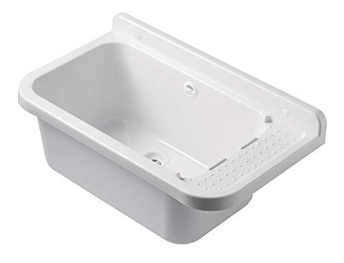 Waschbecken Ausgussbecken 50 cm x 34 cm x 21 cm Spülbecken Waschtrog mit Überlauf Waschbecken für Gewerbe Waschraum Garten inkl. Ablaufgranitur -