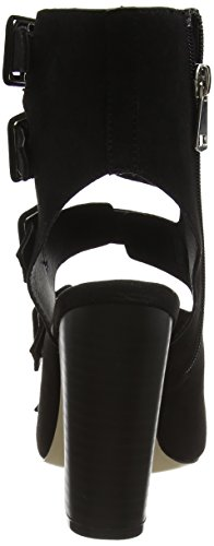 Boohoo Damen Buckle Up Peep Toe Shoe Boot Sandalen Schwarz (Schwarzes Wildleder)
