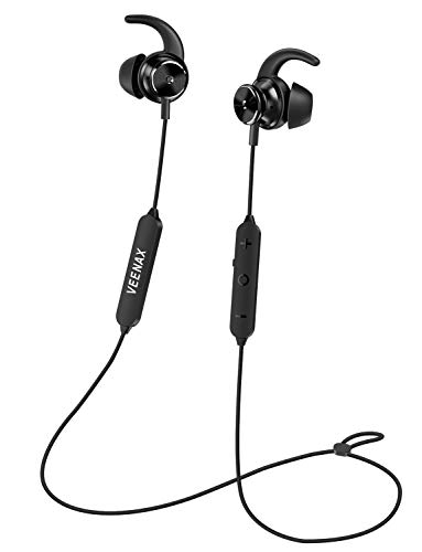 VEENAX Fly ANC Cuffie Cancellazione del rumore Attiva Bluetooth Senza Fili, Auricolari Sport Stereo con Microfono, In-Ear Wireless Headset con Bassi per iPhone Android Smartphone Tablet PC MP3, Nero