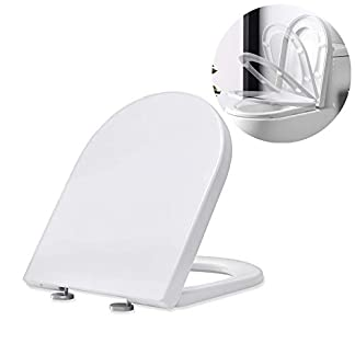 311oeI1JGyL. SS324  - Homelody Tapa y asiento para inodoro cierre suave lento mudo,Tabas de WC en forma de U, Tapa de inodoro de UF robusto e inodoro, sencilla instalación,Blanco