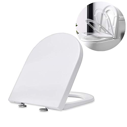 Homelody Tapa y asiento para inodoro cierre suave lento mudo,Tabas de WC en forma de U, Tapa de inodoro de UF robusto e inodoro, sencilla instalación,Blanco