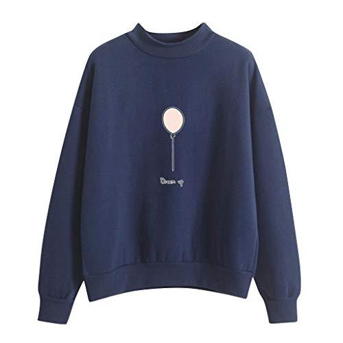 Pullover Sweatshirt für Damen,Kobay 2019 Halloween Heiligabend Weihnachten Frauen O Ansatz Normallack Ballon Muster Lange Hülse Plus Samt Sweatshirt T Shirt Hemd übersteigt Blusen Strickjacke