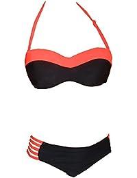 Maillot de Bain Femme 2 Pièces Bikini Bandeau Armature et Push-Up