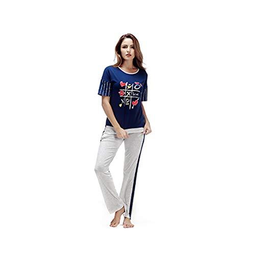 TENGTENGCAI Pyjama À Manches Courtes en Coton O Cou (Bande d'impression T Shirt +Pantalon Long Bleu Nuit De Sommeil)