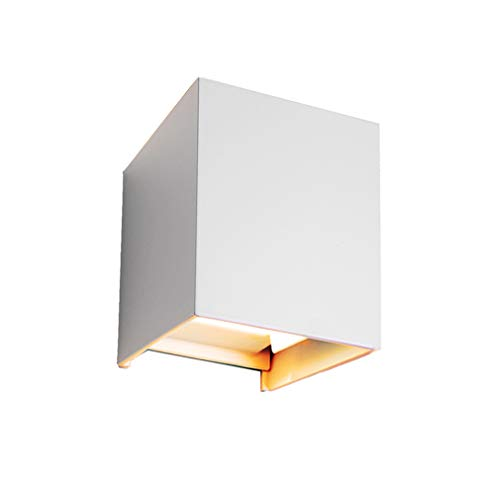 Klassische Verstellbare Wand (12W dimmbare Wandleuchte Motivtech 2-LED Aluminium Wasserdicht Kubisch Warmweiß Wandlampe Aussen Und Inner Modern Klassisch Verstellbarem Lichtwinkel Design (Weiß))